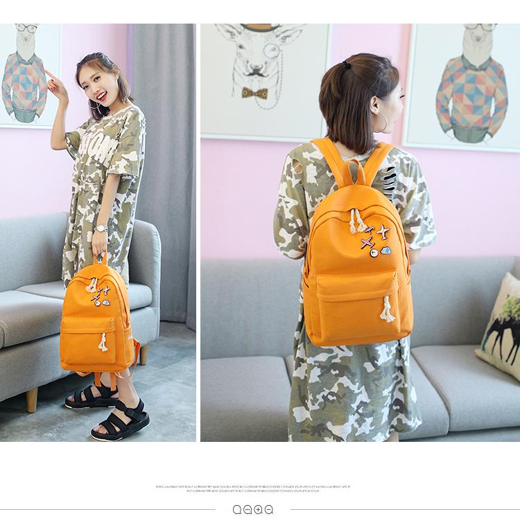Menghuo 5 Pcsset Women Backpacks Cute Plane Badge School Bags For Teenage Girls Simple Canvas Backpacks Ladies Shoulder Bags (9)