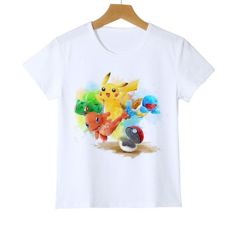 Футболка с покемонами для мальчиков забавные детские футболки летний топ, футболка с героями мультфильмов для маленьких мальчиков, детская...