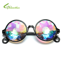 2019 New Vintage Round Kaleidoscope Sunglasses Men Women Party Eyewear Concert Bar Show Cosplay Cool Colorful  Mosaic Glasses fluffy synthetic lolita curly flax mixed gold long side bang capless cosplay wig for women