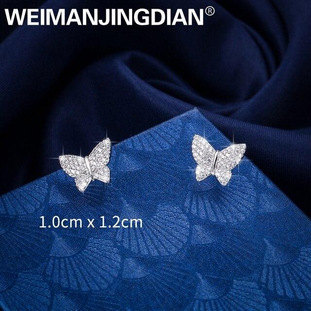 Weimanjingdian 새로운 도착 스파클링 큐빅 지르코니아 cz 지르콘 크리스탈 나비 스터드 귀걸이 여자 또는 여자