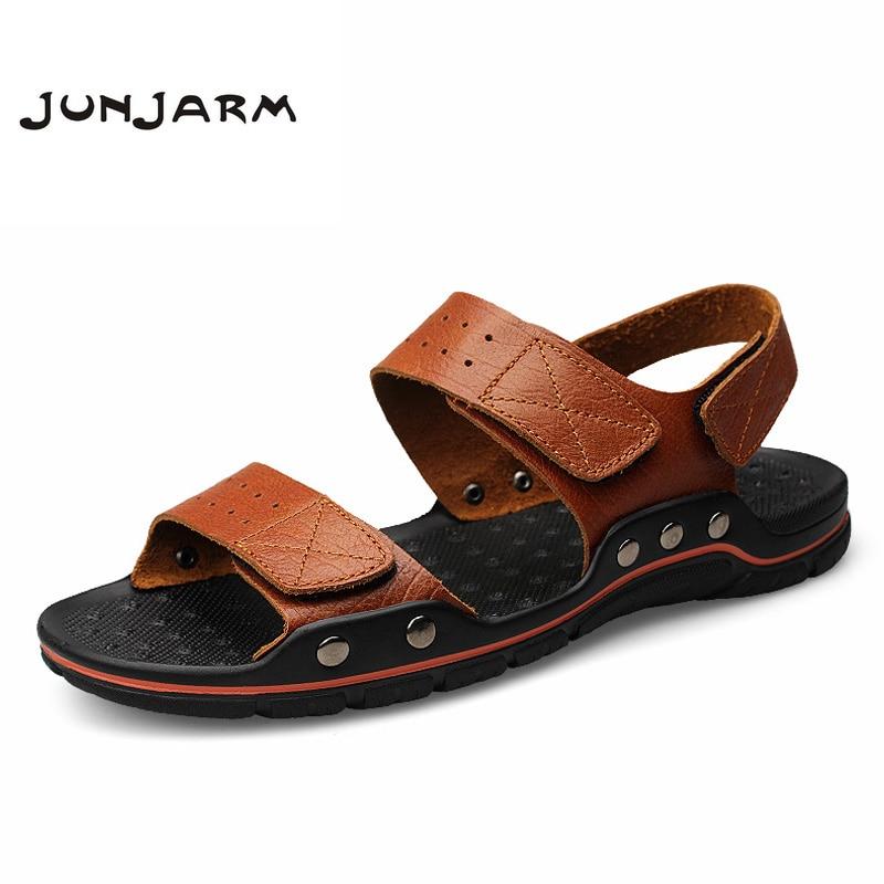 JUNJARM 2018 Summer Men Sandals Cow Leather Men Beach Sandals Brand Men Slippers Flip Flops Men Summer Shoes Plus Big Size 38-47