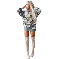 2017 Autumn Ladies Sexy Club O Neck Full Sleeve Army Camouflage Loose Dresses For Women Girls