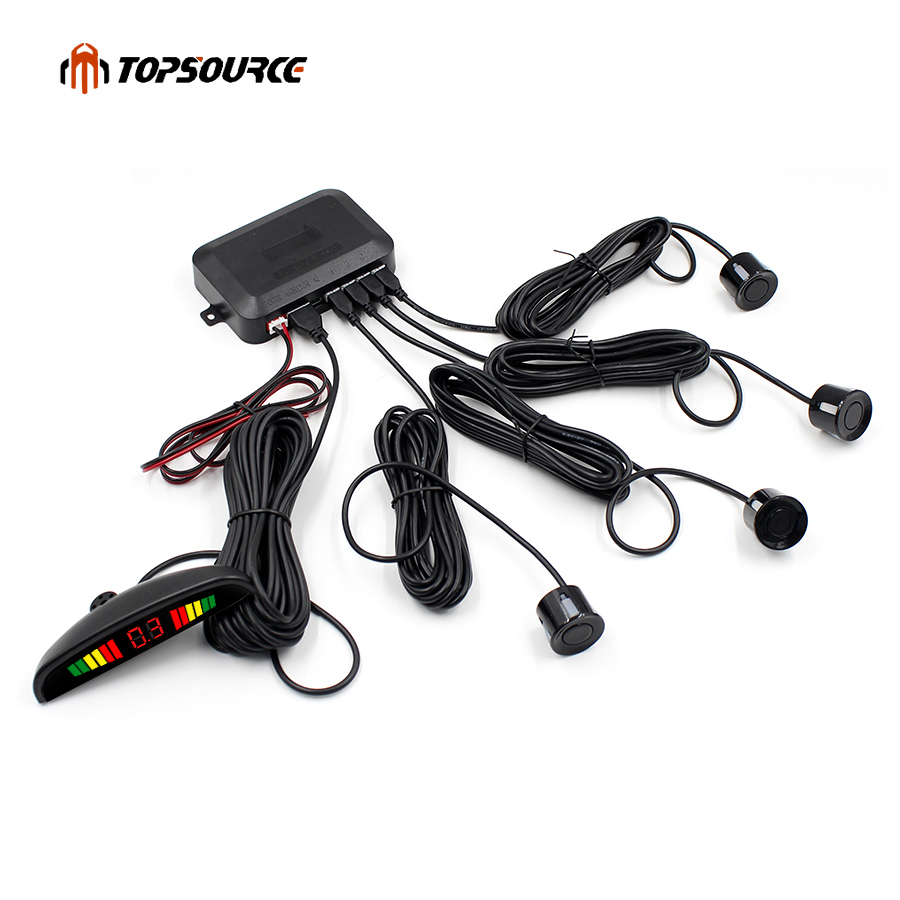 lowest price Car Parking Sensor Parktronic Display 4 Sensors Reverse Backup Assistance Radar Detector  Auto Led Light Heart Monitor System