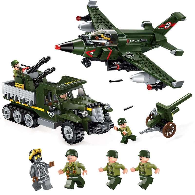 ENLIGHTEN City Military War Air Ground Fighter armored vehicles Building Blocks Sets Bricks Model Kids Toys Compatible Legoings enlighten city series double wings show aircraft building blocks sets bricks model kids toys compatible legoe