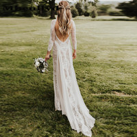 Mbcully Lace Bohemian Wedding Dress Stretchy Long Sleeve Open Back Boho Chic Chiffon Flowing Bridal Gowns robe de mariee