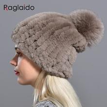 Raglaido dzianiny czapki z pomponem dla kobiet czapki jednolita elastyczna czapki z futra królika czapka zimowa Skullies akcesoria mody LQ11219 tanie tanio Królik Kobiety Dla dorosłych Na co dzień Stałe Skullies czapki Real rex rabbit fur hat+foxfur 55-60cm one size elastic