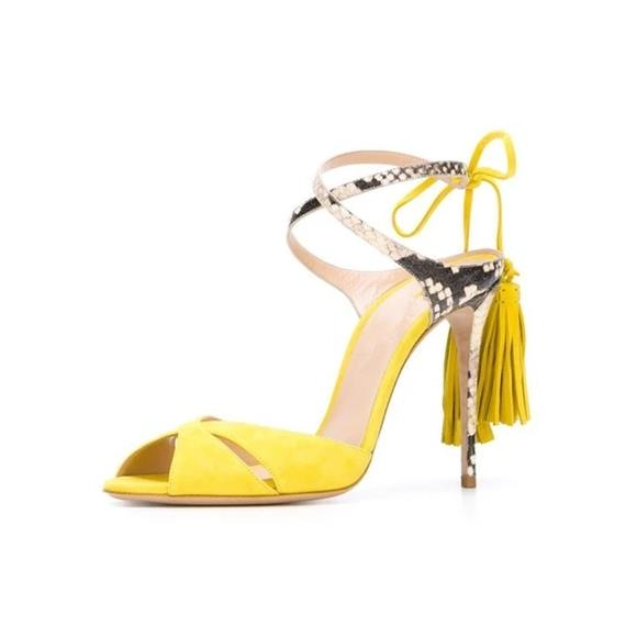 <font><b>Summer</b></font> <font><b>Hot</b></font> <font><b>Sale</b></font> <font><b>Women</b></font> Suede Snake Skin Mixed Color Peep Toe Sandals <font><b>Sexy</b></font> <font><b>Style</b></font> Ankle Wrap Lace Up Fringe Decoration Party Shoes image