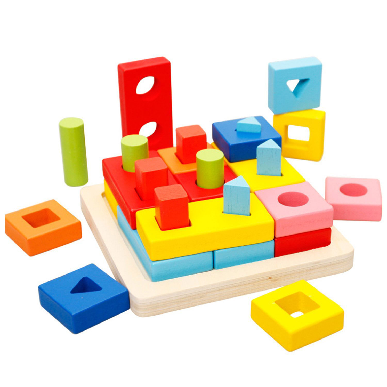 Puzzle Games Toys Wooden Geometric Stacking Sort Toys Early Educational Shape Chunky Puzzle Games for Kid Early Learning  Puzzls