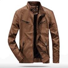 купить 2019 Spring Autumn PU Leather Jacket Men Slim Fit Coat Stand Collar Zipper Jackets Solid Color Casual B Leather Coat WN30 дешево