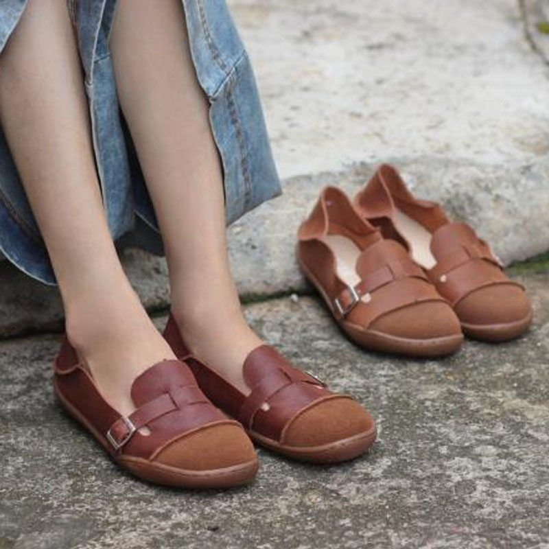 IMTER Shoes Woman Genuine Leather Ladies Flat Shoes Round toe Slip on Ballerina Shoes Barefoot Sole Women Flats (K09)