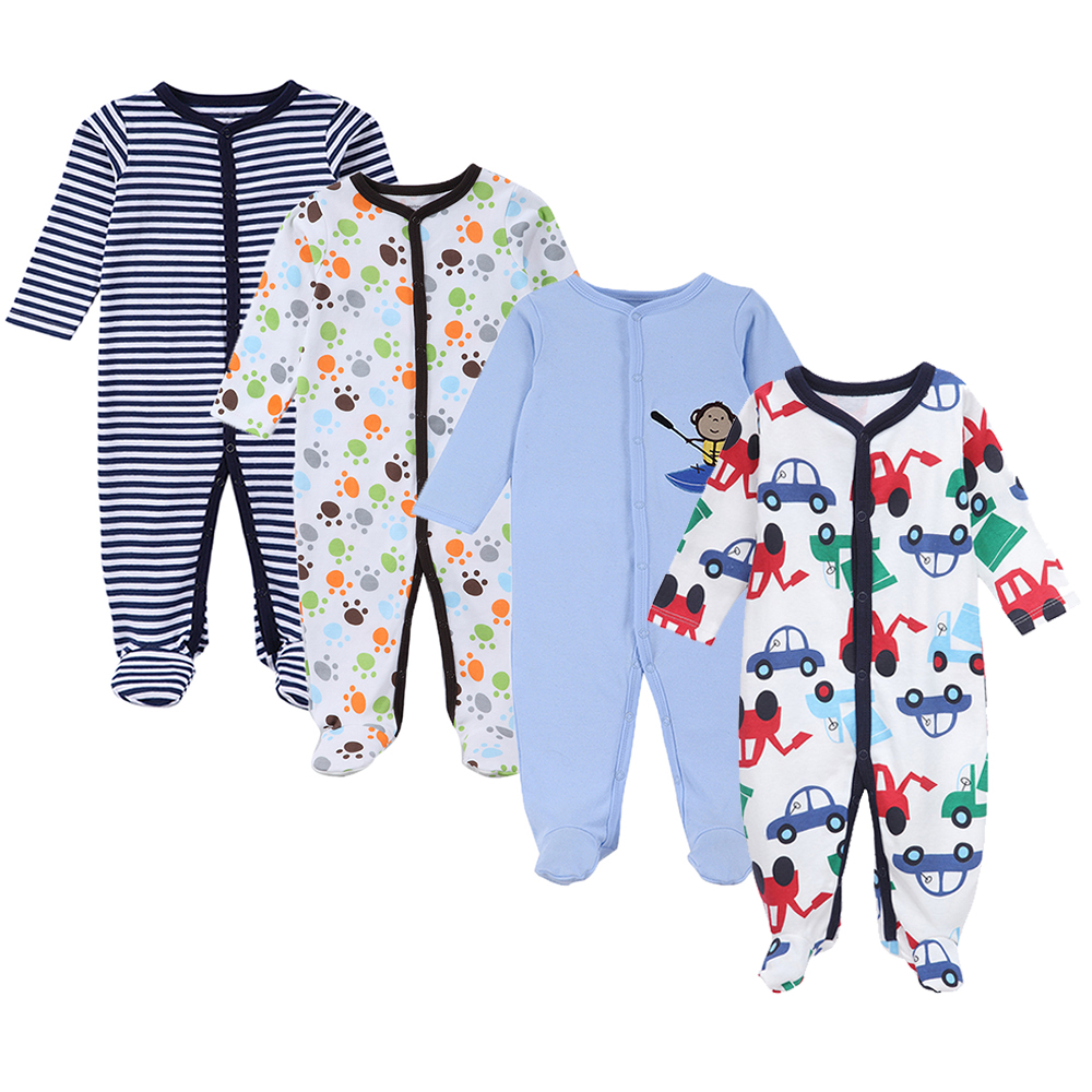 4 Pcs/Lot Newborn Baby Boy Jumpsuits One Piece Footie Coveralls Summer Long Sleeve New Born Baby Boys Clothes Snap Up Cotton Pjs ...