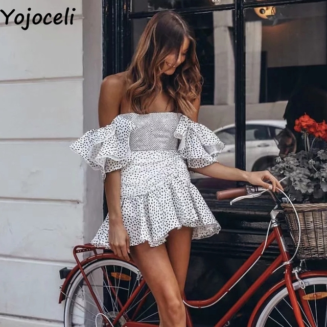 Yojoceli Sexy ruffle polka dot short dress Party mini elegant club dress female Summer women chic cool street dress vestidos