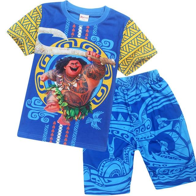 6c909fb1 Summer Children Clothing Set Moana Maui Boys T-shirts Sports Suit Boys Maui  Costume 2 Pcs Clothes + Pants Kids Top DS29