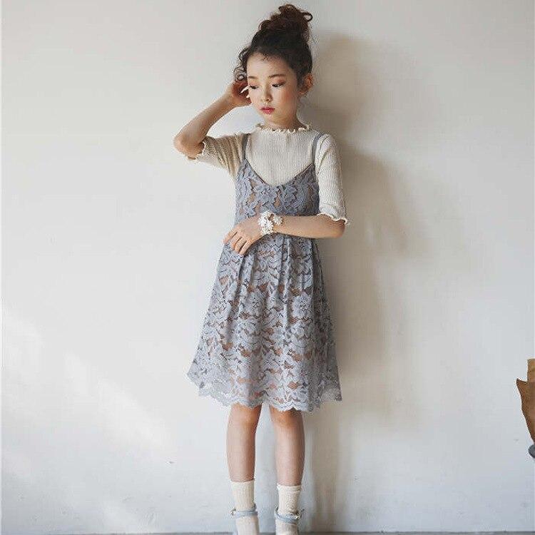 hildren Lace Slip Dress New 2017 Girls Sundress Kids Solid Color Dress Toddler Cotton Lining Dress Not Contain Shirt, 2-14Y