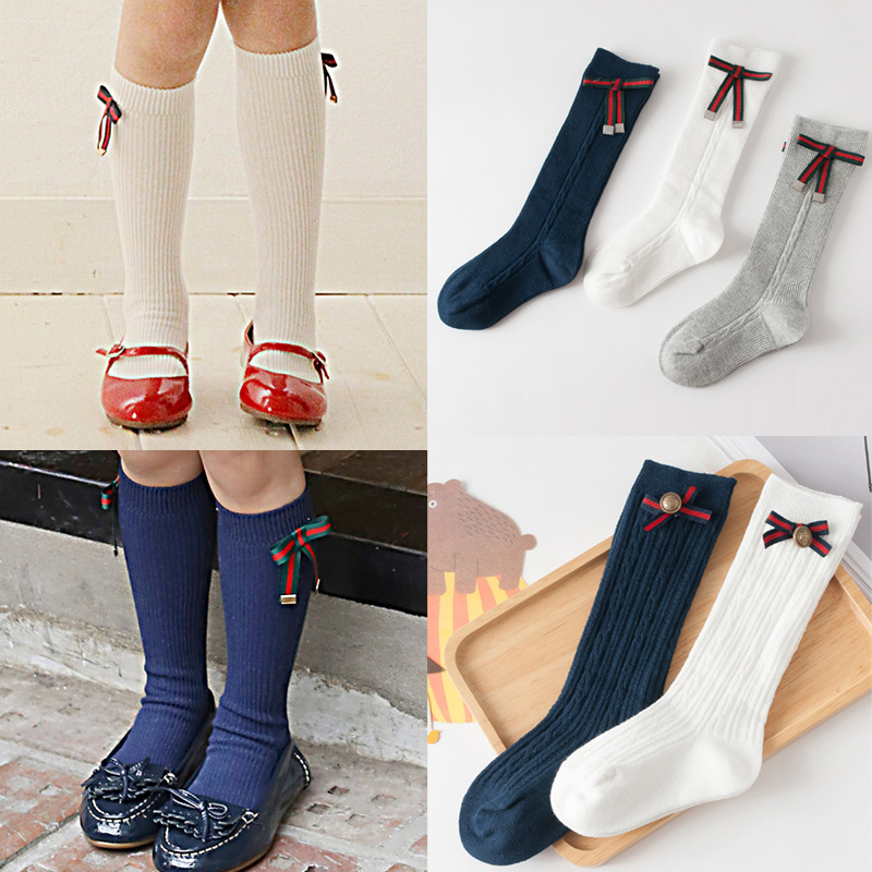 2018 Baby Girls Dress Socks Toddler Knee High Socks Kids Boots Long Tube Seamless Sock Princess Girl Uniform School socks Meias