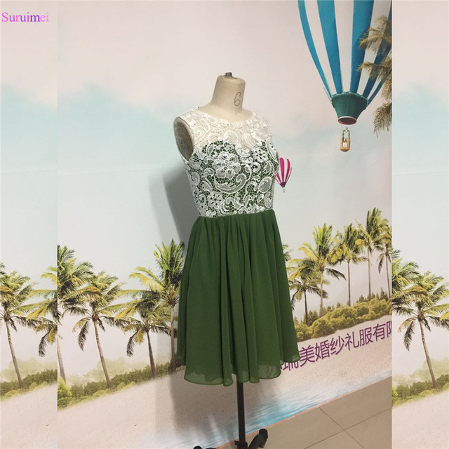 Short Chiffon Prom Dress With Cap Sleeves High Neck Grass Green Lace ...