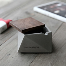 Cement-Ashtray Wooden-Cover Industrial-Wind Minimalist Creative Modern New with Refined