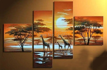 oil painting decoration African Landscape Giraffe 100% handmade Modern home office hotel wall art decor(China)