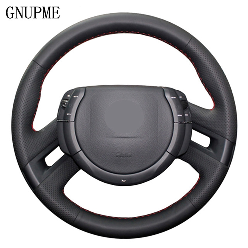 GNUPME Artificial Leather Steering Cover Hand-Stitched Black Car Steering Wheel Cover For Citroen C4 Picasso 2012-2014 C-quatre