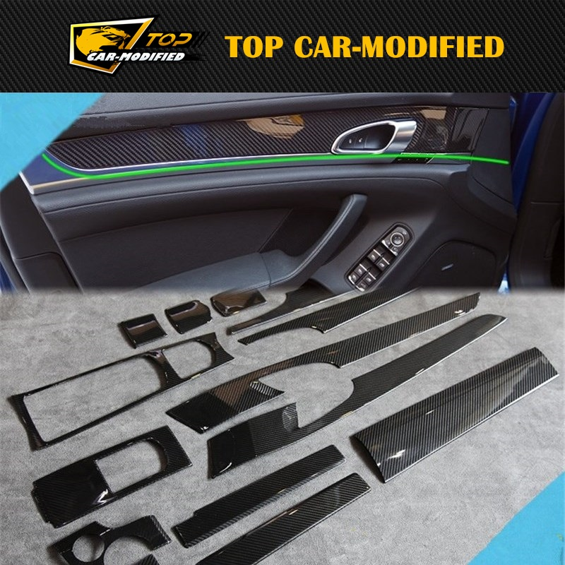 Free shipping 14pcs/set car interior accessories for porsche panamera accessories door inside decoration trims