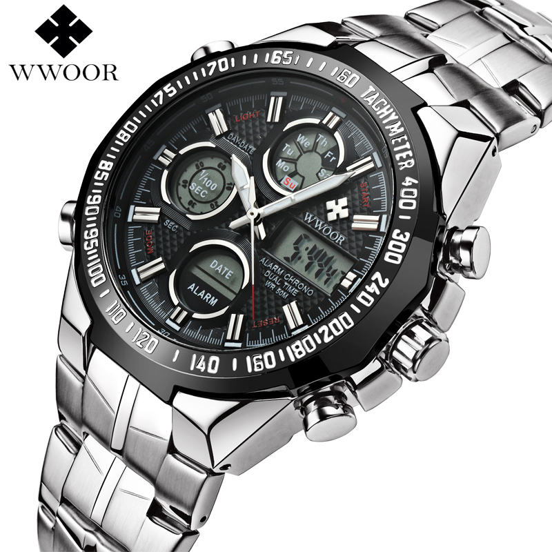 WWOOR Watch Men Quartz Analog LED Digital Clock Mens Watches Top Brand Luxury Stainless Steel Outdoor Military Sport Wrist Watch mens luxury sports stainless steel digital led military date quartz wrist watch