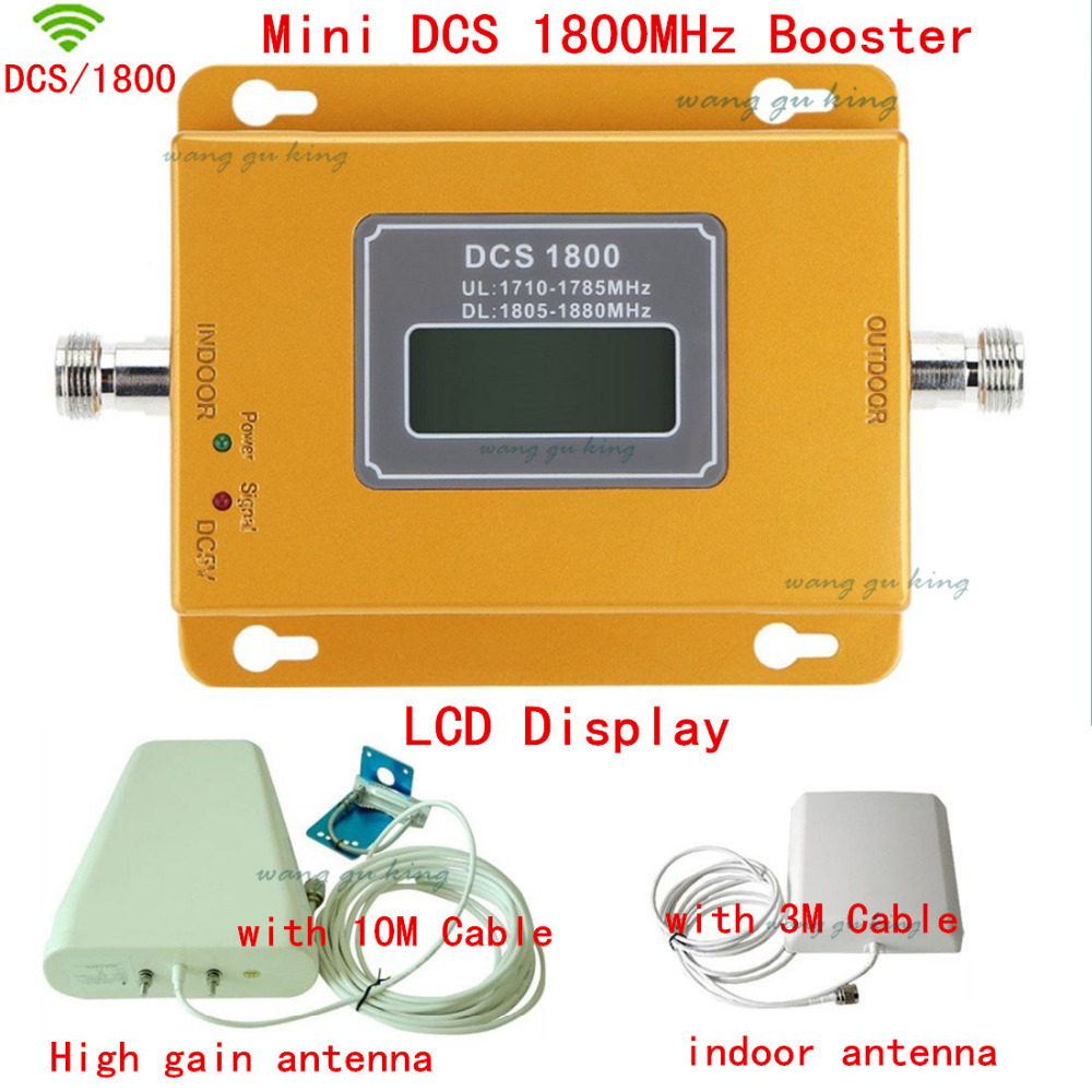 LCD Display Mobile Phone GSM Repeater 1800MHz Signal Booster / 4G LTE DCS Signal Repeater Amplifier With LPDA Antenna Full Set