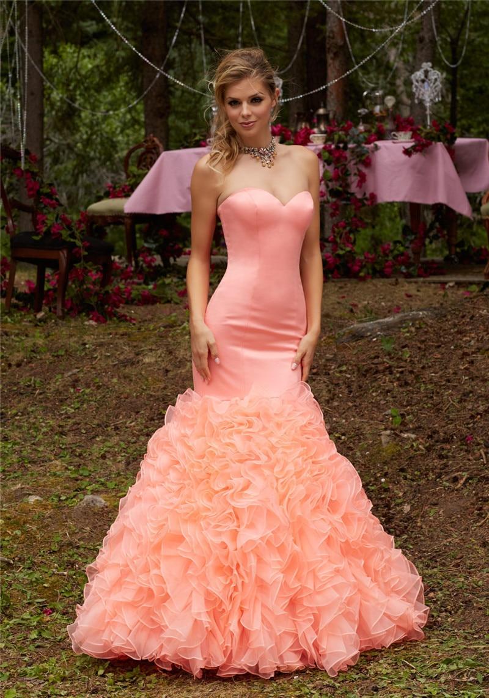 Robe de bal sirène bouffante Corset dos avec volants jupe en Organza longue Satin formelle Occasion spéciale robes de mariée