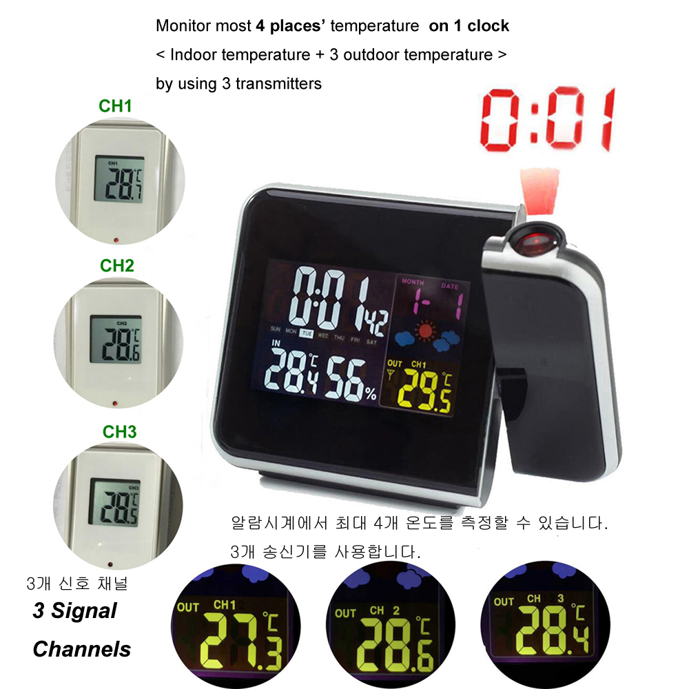 Image 3 - Digital Projection Alarm Clock Weather Station with Temperature Thermometer Humidity Hygrometer/Bedside Wake Up Projector Clock-in Alarm Clocks from Home & Garden