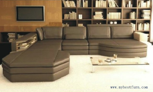 Free Shipping Coffee Color Sofa Set Customized Size Home Furniture Leather S8565