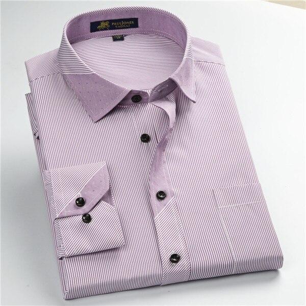 Pauljones 57xx дешевый воротник дизайн с длинными рукавами для мужчин s полосатые рубашки Повседневное платье Мужская рубашка в клетку Высококачественная Мужская одежда - Цвет: 5750