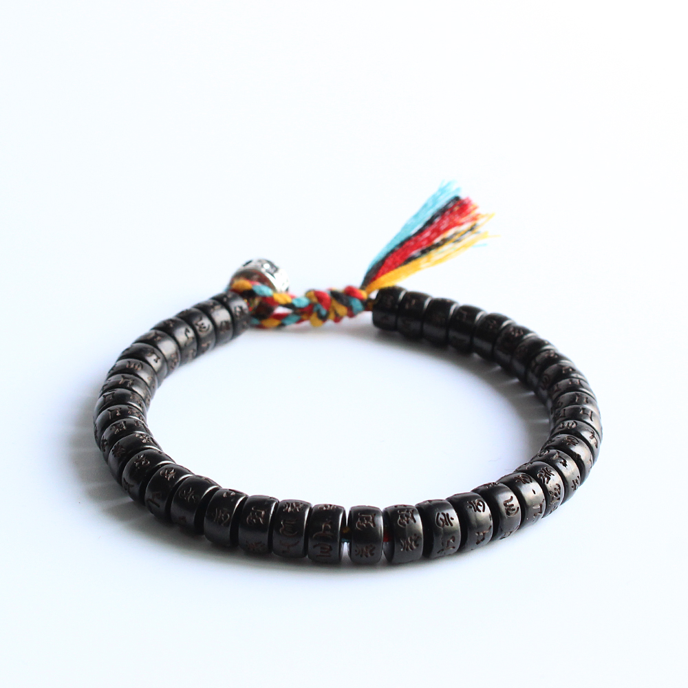 Tibetan Buddhist Hand Braided Cotton Thread Lucky Knots Bracelet Natural Coconut Shell Beads Carved OM Mani Padme Hum Bangle