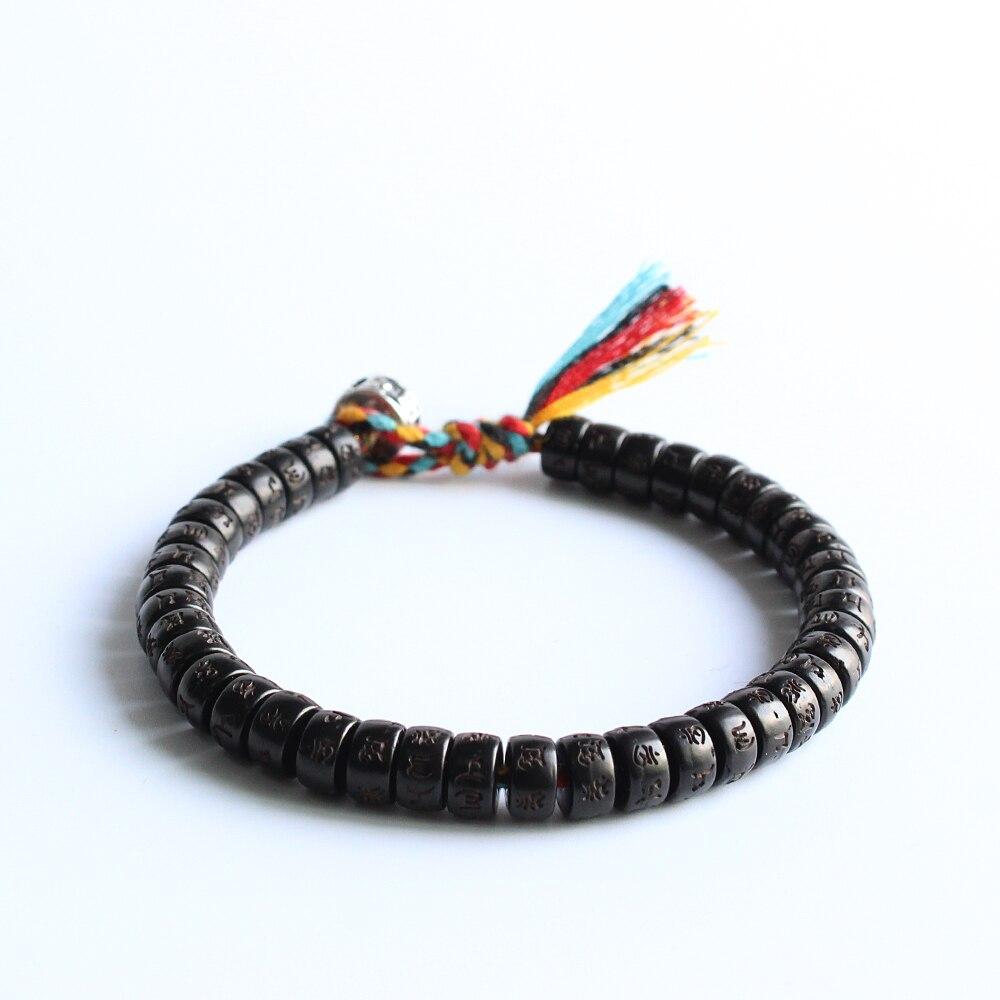 Budista Tibetano mano trenzada hilo de algodón Lucky Knots pulsera Natural Coco shell cuentas talladas OM Mani Padme Hum brazalete