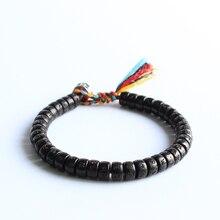 Тибетский буддийский ручной плетеный хлопок нитки Lucky Knots браслет натуральный кокосовый орех бусины резные ОМ МАНИ ПАДМЕ ХУМ