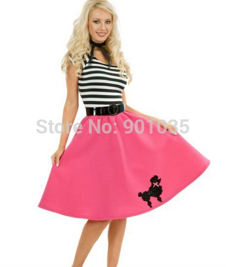 Baby Pink Poodle Skirt Ladies Fancy Dress 50s 60s Rock /& Roll Womens Costume New