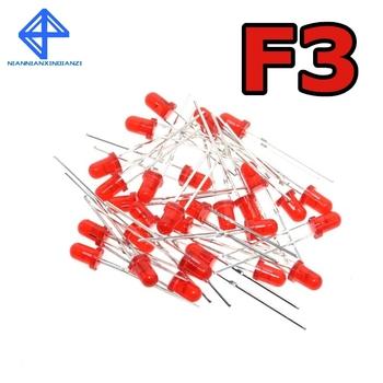Czerwony F3 3mm LED czerwony dioda elektroluminescencyjna 1000 sztuk czerwone światło-emitujące światło barwy czerwonej zmieniają kolor na czerwony tanie i dobre opinie Nowy 1 9V-2 1V 1 8 V Przez otwór 3mm LED RED