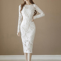 Office Lady Pencil Dress Women Long Sleeve Sexy Hollow Out Knee Length Celebrity Party Work Business Sheath Lace Bodycon Dress