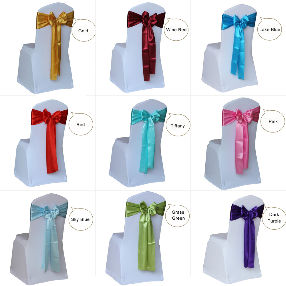 50pcs Satin Wedding Chair Sash Bow Tie Satin Ribbon Chair Bands For Wedding Decoration Hotel Party Supplies