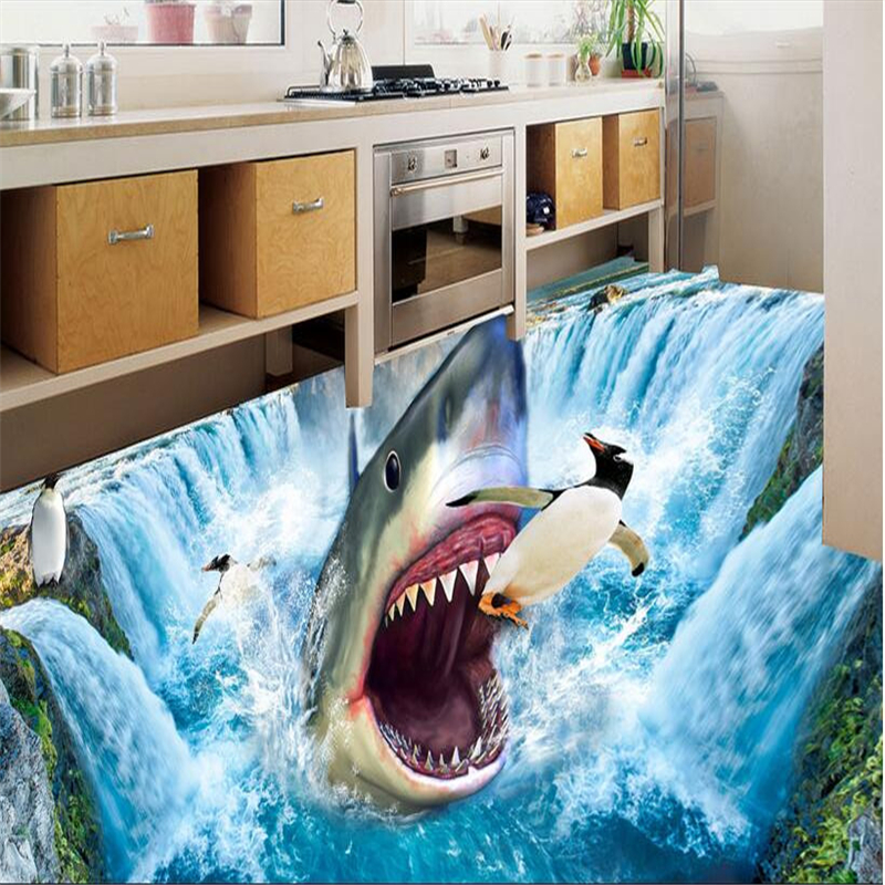 beibehang Custom photo 3d flooring mural self - adhesion wall sticker waterfall penguins painting 3d room murals wallpaperbeibehang Custom photo 3d flooring mural self - adhesion wall sticker waterfall penguins painting 3d room murals wallpaper