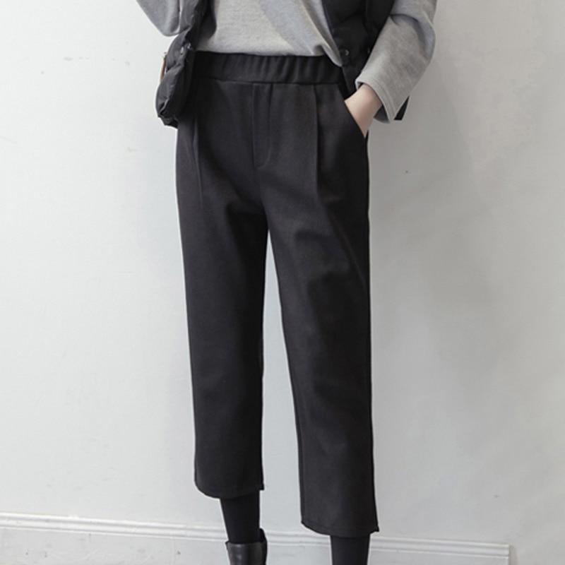 Women Solid Straight Pants Female Autumn Korean Loose High Eaist Pockets Trousers Women Causul Elastic Waist Ankle-Length Pants