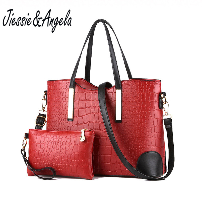 Jiessie & Angela 2 pcs Women Handbag PU Tote Bag Fashion Ladies Casual Tote Large Capacity Composite Bag 2 Sets Shoulder Purse