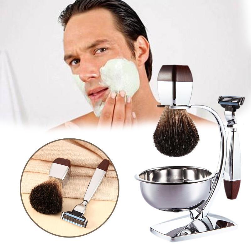 4 in 1 Men's Shaving Set Bristle Shaving Brush + Bowl + Safety Razor + Brush Frame Stand Professional Beard Shaver Kit bristle brush page 4