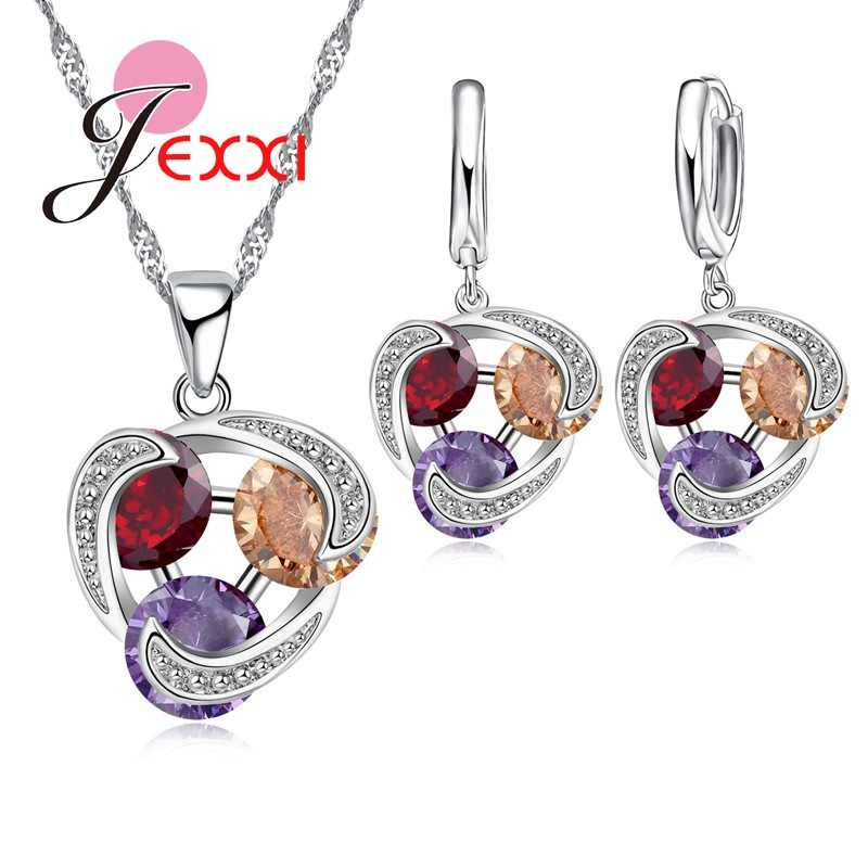Free Shipping Woman Stylish Party Jewelry Set 925 Sterling Silver Necklace Earrings Colorful Crystal Pendant Wholesale