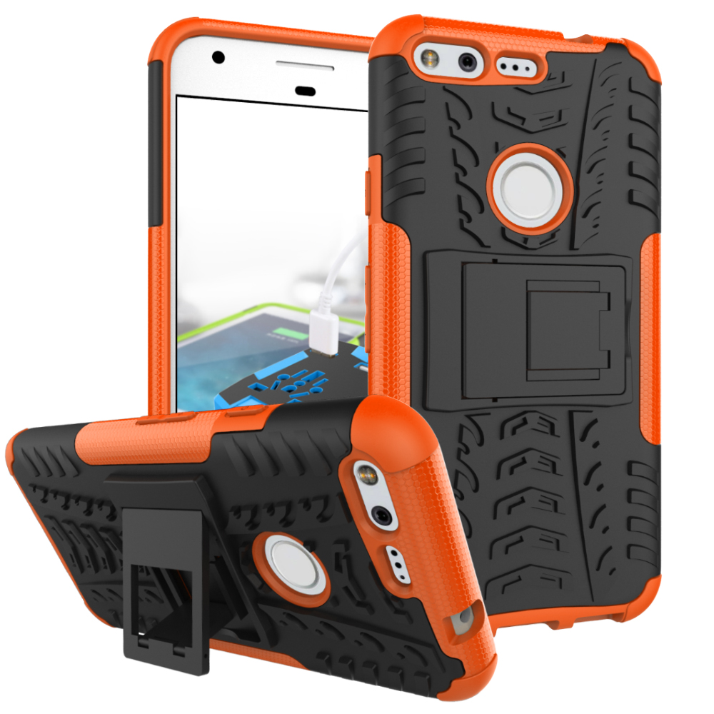 2 In 1 Heavy Duty Strong Rugged Armor Tire Style Hybrid TPU PC Hard Stand Bracket Case For Google Pixel XL