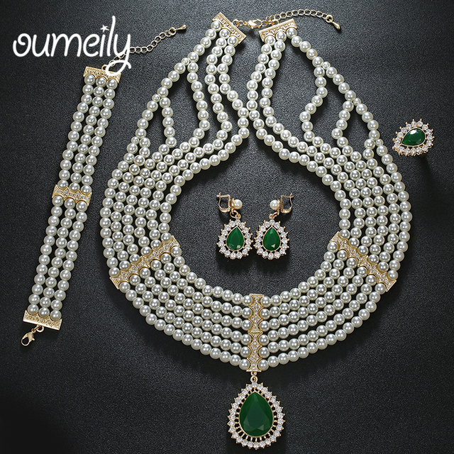 OUMEILY Fashion Simulated Pearl Water Drop Jewelry Sets For Women Party Accessories Necklace Earring Charm Dubai Bangle Rings