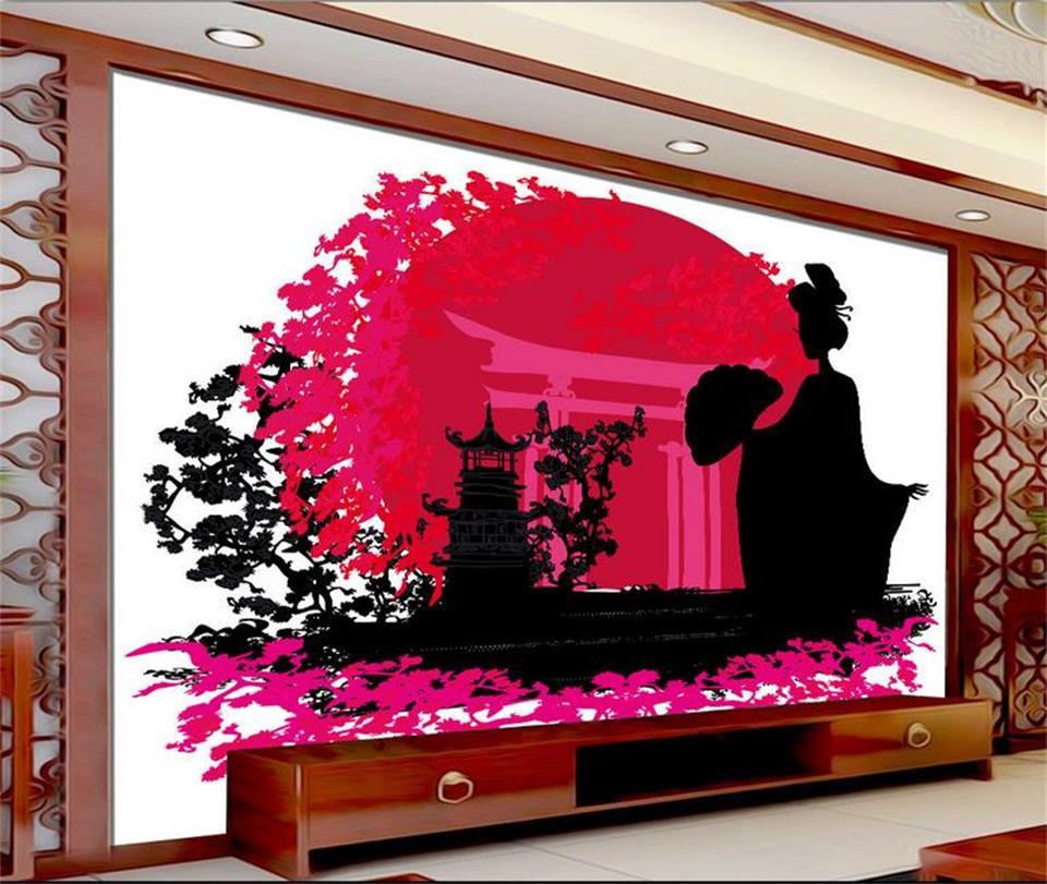 3d photo wallpaper custom living room mural Japanese style kimono woman painting TV background non-woven wallpaper for walls 3d custom 3d photo hot wallpaper non woven mural wallpaper 3d living room tv backdrop oil painting mural wallpapers home decoration