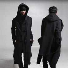 Autumn winter men punk hip hop slim fit long trench coat hooded cloak