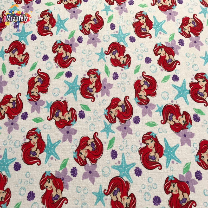 New cotton knitted fabrics cloth mermaid design patchwork for Knit fabric childrens prints