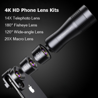 Camera Phone Lens Kits:Macro Lens 14X Telephoto Lente Wide Angle Fisheye Lenses For Samsung S10 S10E S9 PLUS NOTE 9 For Xiaomi