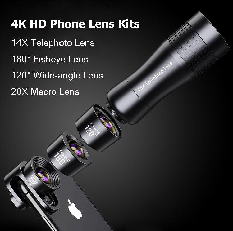 Набор объективов для камеры телефона: макрообъектив 14X телеобъектив широкоугольный объектив рыбий глаз для samsung S10 S10E S9 PLUS NOTE 9 для Xiaomi