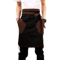 Unisex Japanese Apron Waist Denim Apron Barista Vintage Half Apron Cooking Aprons Men Pinafore